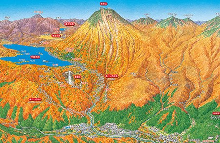 紅葉の日光 パノラマ地図